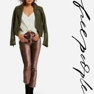 NWT Free PeopleModern Faux Leather Bomber Jacket